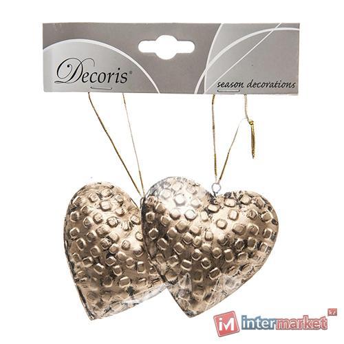 Декор Сердце металлическое золотое d8см 2шт/уп