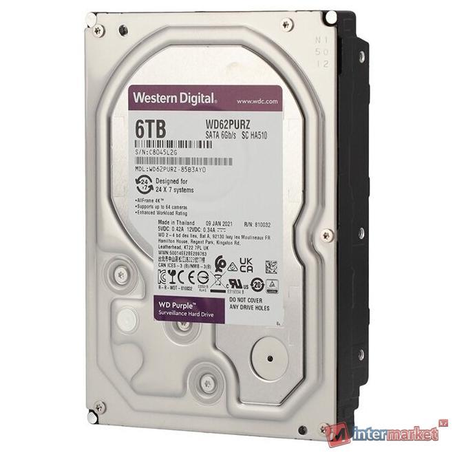 Жесткий диск для видеонаблюдения HDD 6Tb Western Digital Purple SATA 6Gb/s 128Mb 3,5
